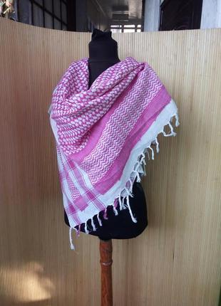 Белое розовый платок  хлопок / шарф  в клетку / арафатка