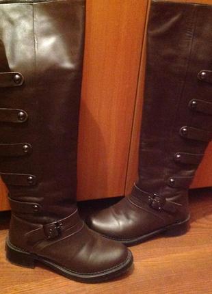 Крутые высокие коричневые кожаные сапоги swish италия 34-35р.