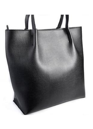 Большая женская сумка шоппер на плечо черная в форме корзины