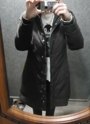 Шоколадная куртка-пальто-пуховик с поясом (наполнитель утиное перо), бесплатная доставка