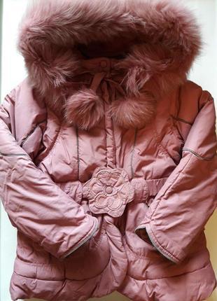 Теплая зимняя куртка пудрового цвета с капюшоном на 128 см бренда kiko