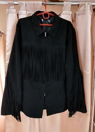 Стильная замшевая куртка с бахромой от h&m