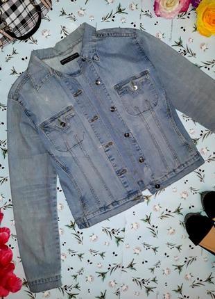 Стильная джинсовая куртка с потертостями dorothy perkins, размер 44-46