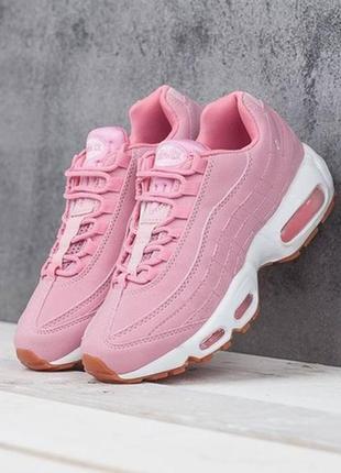 36 37 38 39 40 нежные женские кроссовки nike air max 95 pink white белые с розовым