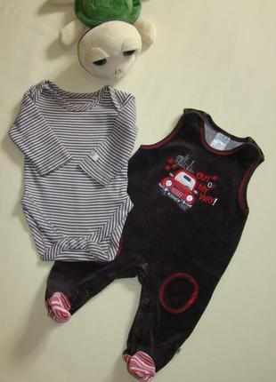 Комплект малышу 1-3 мес велюровый комбинезон ползуны jacky + боди с рукавом mothercare