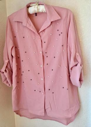 Рубашка блуза с жемчугом с бусинами пудровая пудра