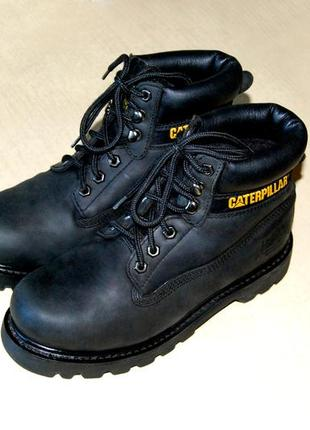 c9cd7d140 Caterpillar – отличные чёрные кожаные ботинки унисекс, размер 38 (стелька  24,6 см