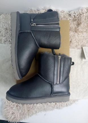 Серые кожаные угги/ все размеры/ ugg australia