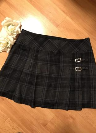 Теплая мини-юбка в модную клетку шерсть