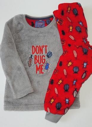 Пижама пушистый флис жуки для мальчика, primark. размер 4-5 лет