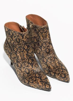 Новые мех/ кожа в принт кожаные ботинки средний каблук ботильоны полусапожки