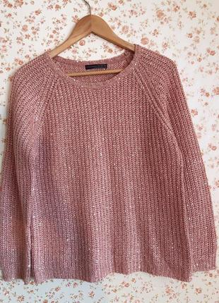 Нежно розовый свитер в пайетках