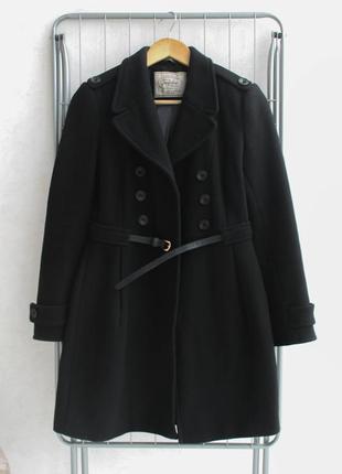 Чёрное пальто zara шерсть
