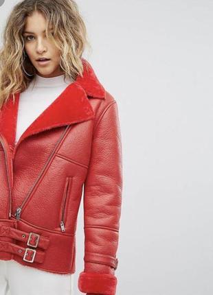 Новая красная дублёнка  мissguided oversized размер м