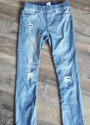 Леггинсы-джинсы рваные