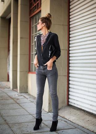 Серые джинсы скинни джеггинсы узкачи американки резинка беременным