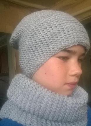 Вязаный комплект, набор шапка, снуд, ручная работа, шарф