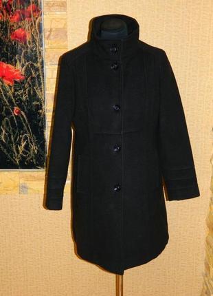 Пальто женское черное демисезонное кашемир на пуговицах размер 46-48 petite