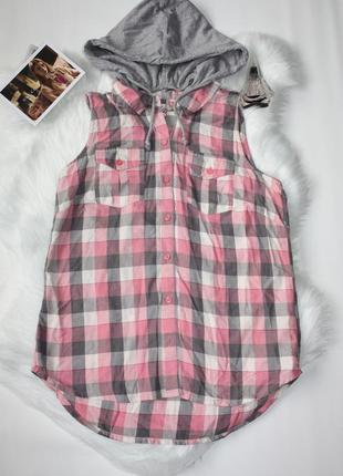 Рубашка фланелевая в клетку люрекс серебряная нить с капюшоном fifty six (к032)