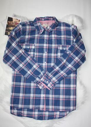 Рубашка в клетку синий розовый papaya 20р (к032)