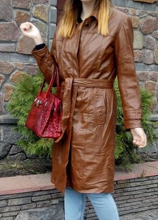 Шикарное пальто тренч плащ натуральная кожа madeleine р.44 l