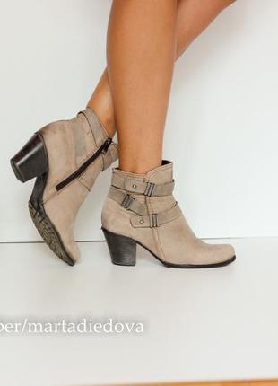 Кожаные ботинки ботильоны полусапожки, натуральная кожа, бренд marco tozzi