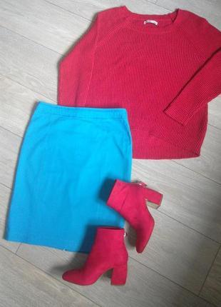 Голубая юбка-карандаш h&m