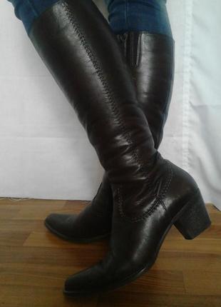 Шикарные сапоги,коричневый,кожа,удобные,качество lavorazione artigianale