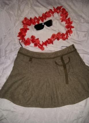 Мини-юбка теплая хаки