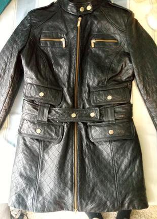 Курточка кожаная удлиненная