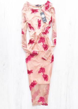 Актуальна пудрова сукня-сітка з вишивкою \ пудровое платье сетка миди с вышивкой boohoo