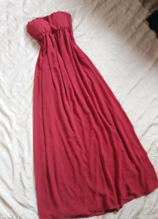 Вечернее платье в пол цвета бордо от only.