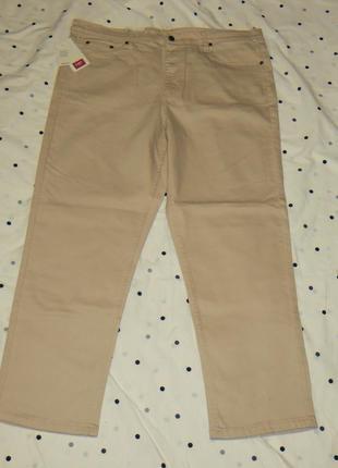 Бежевые зауженные джинсы w 40 l 30