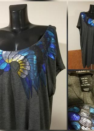 Фирменная стильная качественная с вышивкой длинная футболка , туника-платье .