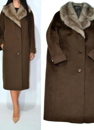 Пальто кашемировое с  воротником голубой норки оверсайз blin& blin.