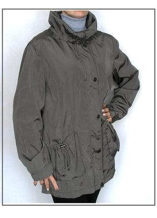 L -xl, серая ветровка куртка дождевик парка с большим воротником