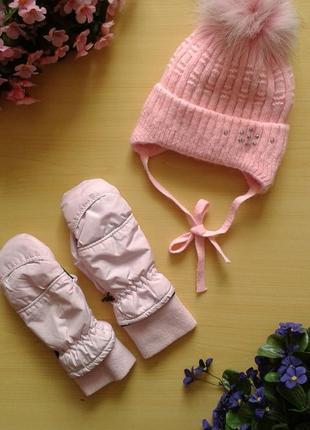Зимний комплект на флисе (шапка и термо-варежки), бубон натуральный песец, ог 48-52 см