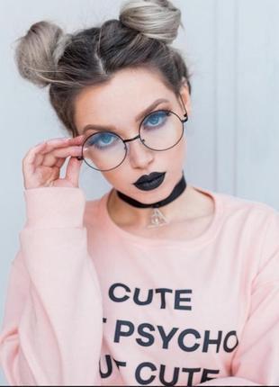 Круглые имиджевые очки с чёрной оправой