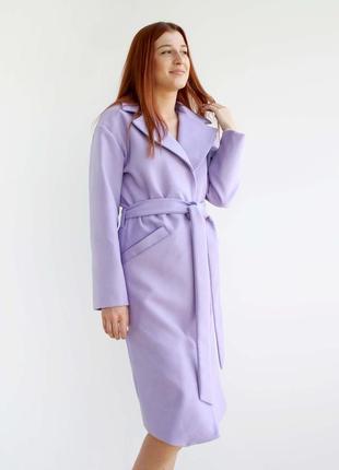 Нежное сиреневое пальто-халат