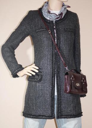 Твидовое  пальто zara basic в стиле chanel