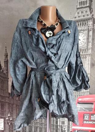 Знижки+ подарунки! італійська льняна блуза піджак з пояском