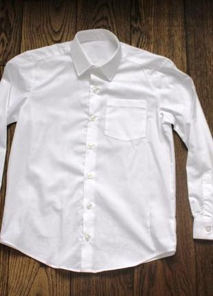 Новая рубашка школьная для мальчика george(англия),белая,немнущаяся,р.7-8 лет