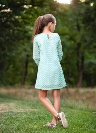 Дизайнерское нежно-мятное детское платье3 фото