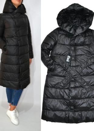 Пуховик одеяло на магнитах зимнее пальто био пух с капюшоном оверсайз.