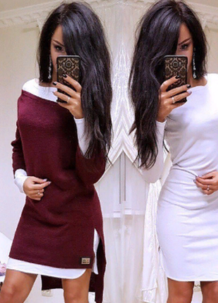 Двойка - платье+туника. ангора 5цв,42-52р