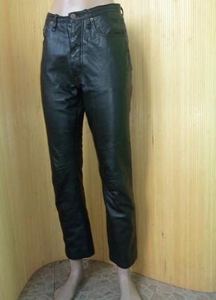 Чёрные брюки натуральная кожа с пуговицами
