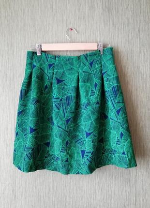 💚🌿 расклешенная жаккардовая юбка с высокой талией изумрудного цвета 💚ретро стиль