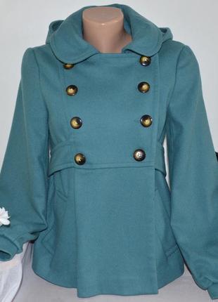 Брендовое шерстяное демисезонное пальто полупальто с капюшоном и карманами topshop вьетнам