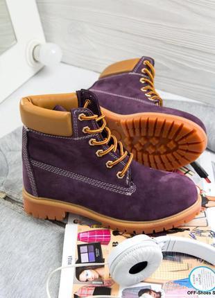 Шикарные ботинки в фиолетовом цвете из кожи (36-41)