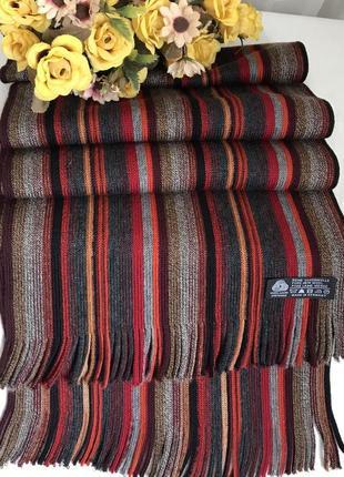 Яркий ♥️👑♥️шерстяной шарф из 100 шерсти , германия, 165х28.